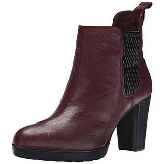 Bella Vita Womens Zana Leather Contrast Trim Ankle Boots - 9.5 extra wide (e+, ww)