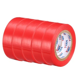 """PVC Electrical Insulating Tape Single Sided 21/32"""" Width 49ft 20mil Red 5pcs - 20 mil Thick, Red"""