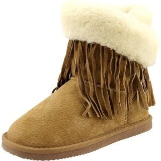 Lamo Fringe Wrap Kids Women W Round Toe Suede Winter Boot