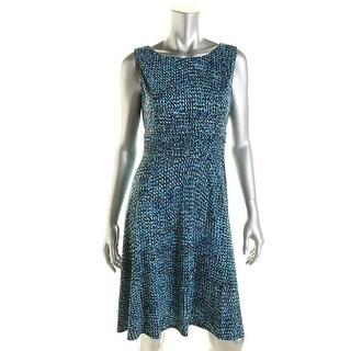 Jessica Howard Womens Petites Matte Jersey Printed Wear to Work Dress - 10P