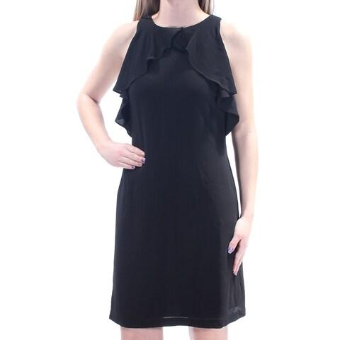 JESSICA SIMPSON Womens Black Ruffled Sleeveless Jewel Neck Above The Knee Dress Size: 2