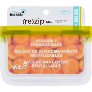 Blue Avocado Bag - Re-Zip - Snack - Green - 2 Count Food Containers