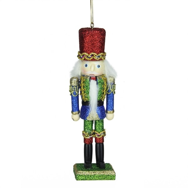 """6"""" Green, Blue and Red Wooden Glittered Christmas Soldier Nutcracker Ornament - green"""