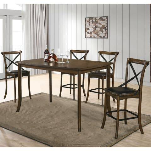 Furniture of America Dola Traditional Oak 5-piece Counter Dining Set