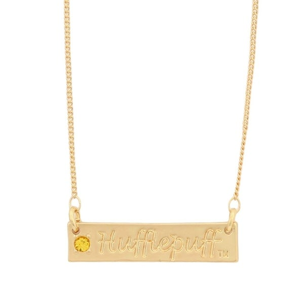 Harry Potter Hufflepuff Script Bar Necklace with Stone - multi