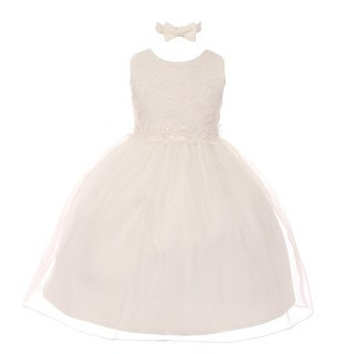 Rain Kids Little Girls Ivory Floral Trim Organza Overlay Flower Girl Dress
