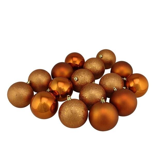 "16ct Burnt Orange Shatterproof 4-Finish Christmas Ball Ornaments 3"" (75mm)"