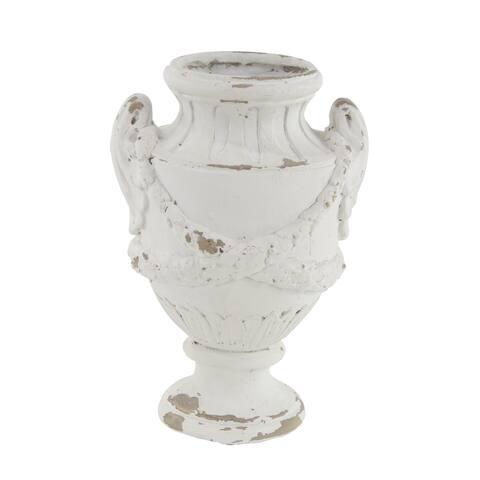 Rustic 18 x 11 Inch Distressed White Amphora Vase