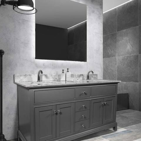"""61''x22"""" Bathroom Stone Vanity Top With Double Undermount Ceramic Sink"""