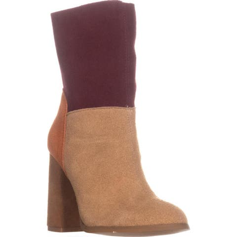 Chinese Laundry Classic Block Heel Dress Ankle Boots, Suede Camel Multi - 5 US / 35 EU