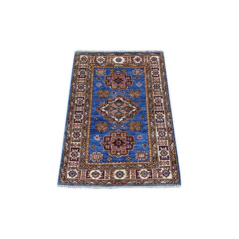"""Shahbanu Rugs Hand Knotted Denim Blue Super Kazak Extremely Durable Pure Wool Oriental Rug (2'1"""" x 3'1"""") - 2'1"""" x 3'1"""""""