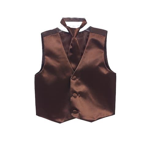 Little Boys Brown Three Button Satin Vest Tie 2 Pc Set