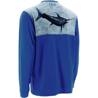 Huk Men's KC Scott Midnight Banks Icon Royal Medium Long Sleeve Shirt
