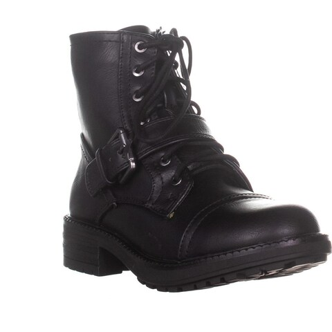 ESPIRIT Macie Lace Up Combat Boots, Black
