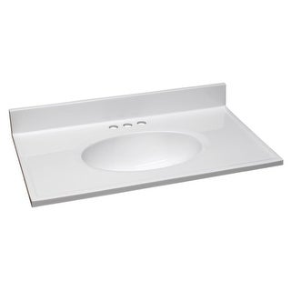 """Design House 552018 31"""" Marble Drop-In Vanity Top with Integrated Sink and 3 Faucet Holes - Solid White"""