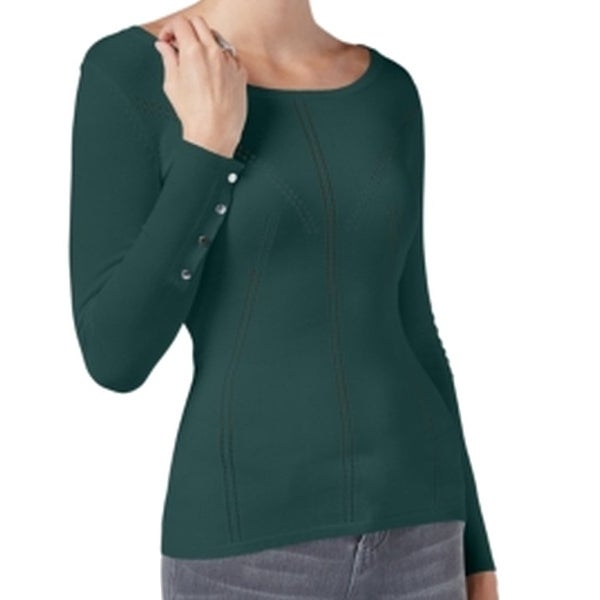 8fcf88578 Shop Guess NEW Green Women's Size Large L Doris Pointelle Crewneck Sweater  - Free Shipping On Orders Over $45 - Overstock - 17494808