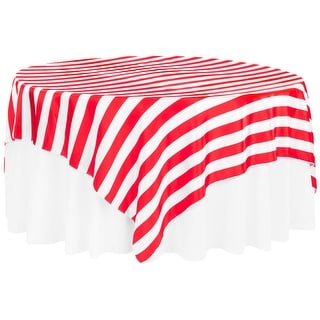"Stripe 90""x90"" Square Satin Table Overlay Edge: Serge - Red & White"