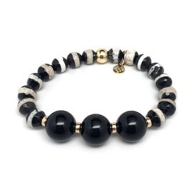 Black & White Agate 'Trinity' stretch bracelet 14k Over Sterling Silver