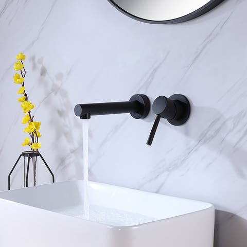 Modern Wall Mount Bathroom Sink Faucet with Single Handle Solid Brass