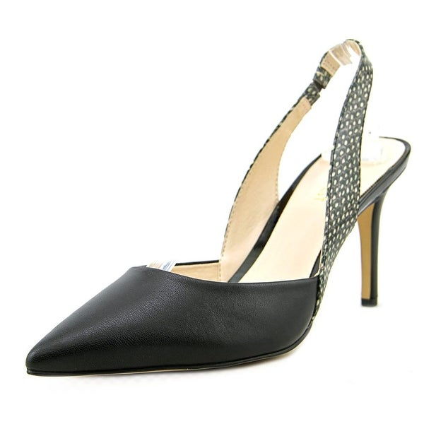 Nine West Rollover Women Pointed Toe Leather Black Slingback Heel