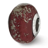 Italian Sterling Silver Reflections Dark Red with Platinum Foil Ceramic Bead (4mm Diameter Hole)