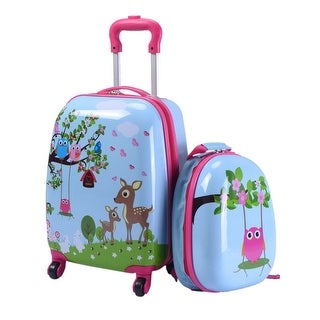 Costway 2Pc 12'' 16'' Kids Luggage Set Suitcase Backpack School Travel Trolley