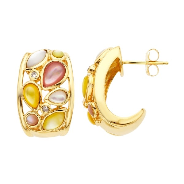 Pink, Yellow and White Natural Mother-of-Pearl Earrings in 10K Gold with Diamonds - multi-color