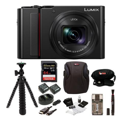 Panasonic LUMIX ZS200 Digital Camera (Black) with 64GB SD Card Bundle