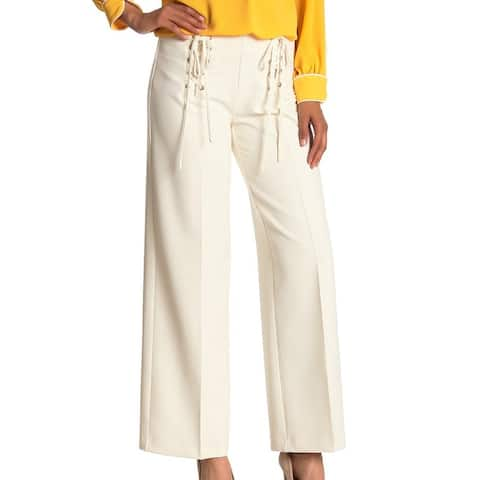 Vince Camuto Women's Pants White Ivory Size 14X29 Stretch Lace-Up