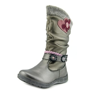 Beeko Rose Toddler Round Toe Synthetic Silver Boot