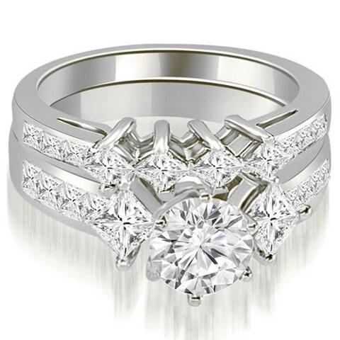 2.85 cttw. 14K White Gold Channel Set Princess and Round Cut Diamond Bridal Set HI, SI1-2
