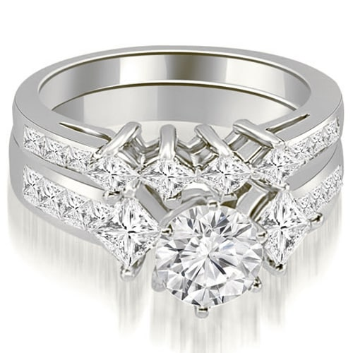 3.10 cttw. 14K White Gold Channel Set Princess and Round Cut Diamond Bridal Set