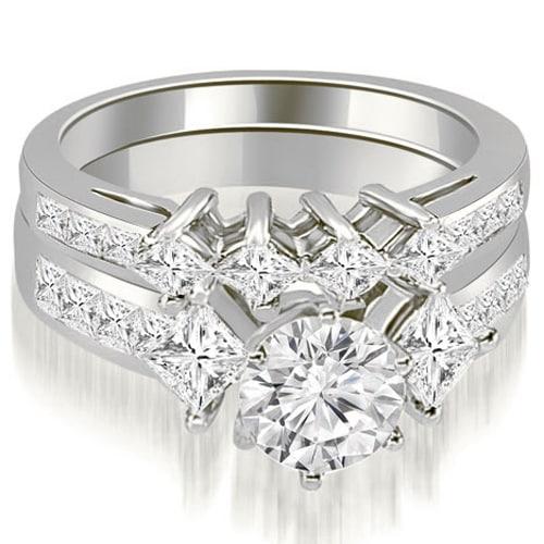 3.10 cttw. 14K White Gold Channel Set Princess and Round Cut Diamond Bridal Set