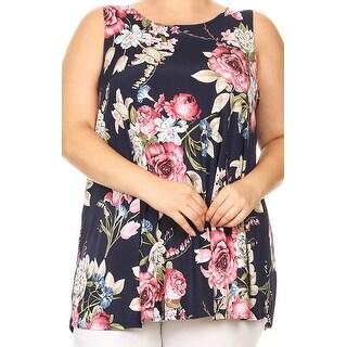Women Plus Size Sleeveless Floral Pattern Printed Tunic Tank Top Navy