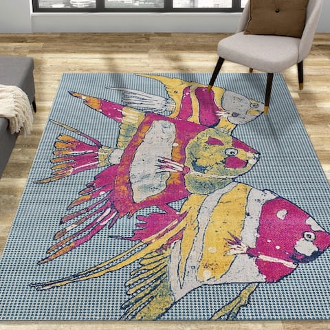 Pink and Yellow Coral Fish Tropical Trio Indoor/Outdoor Rug