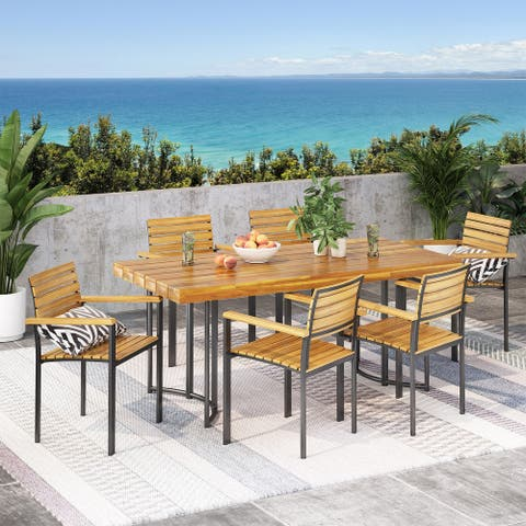 Crosby Outdoor Modern Industrial 7 Piece Acacia Wood Dining Set by Christopher Knight Home