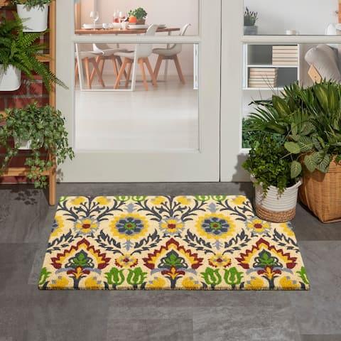 Waverly Greetings Santa Marie Grey Doormat by Nourison (1'6 x 2'4)