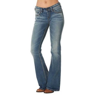 Silver Jean Co Womens Aiko Defined Curve Mid Rise Flare Light Wash 27W/32L