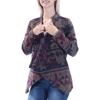 Womens Brown Long Sleeve Open Casual Sweater Size S
