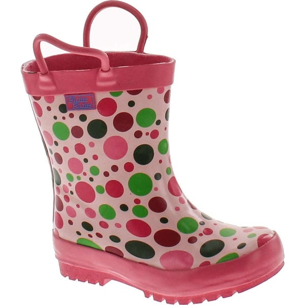 Pluie Pluie Toddler Little Girls Pink Polka Dot Rain Boot Shoes - candy dot