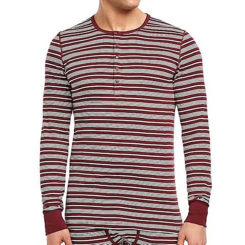 2(x)ist Mens Sleepwear Red Size Medium M Striped Long-sleeve Henley