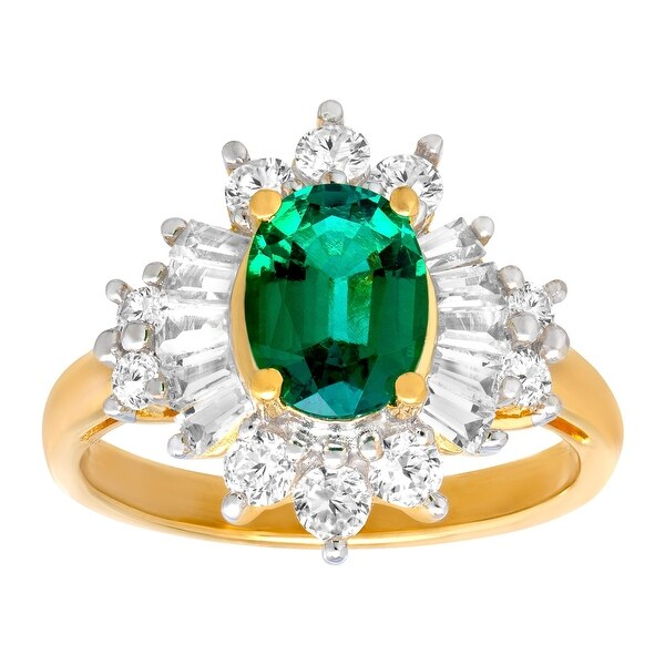 2 1/3 ct Created Emerald & Sapphire Ring in 14K Gold-Plated Sterling Silver