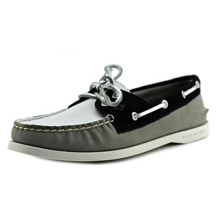 Sperry Top Sider A/O 2-Eye Miss Match Blk/Wht Leather Boat Shoe