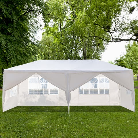 3 x 6m Six Sides Two Doors Waterproof Tent with Spiral Tubes White