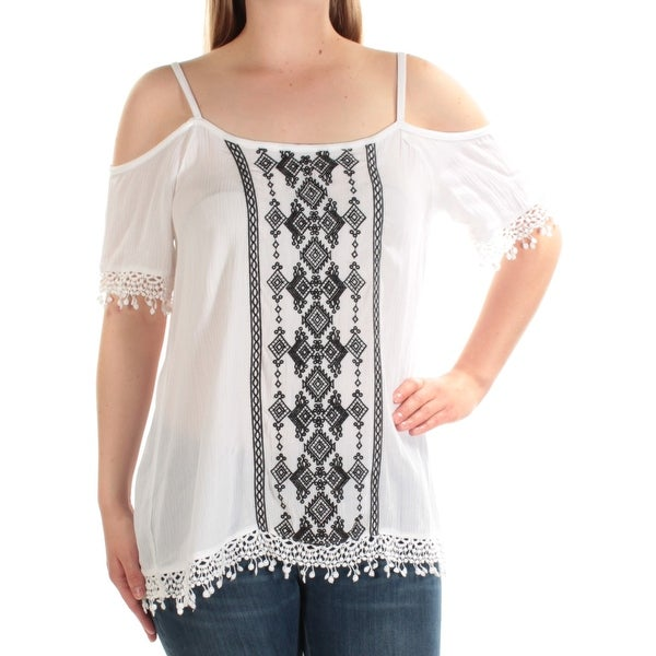 e42ef543e6a Shop INC Womens White Embroidered Short Sleeve Square Neck Top Size  M - On  Sale - Free Shipping On Orders Over  45 - Overstock - 22429266