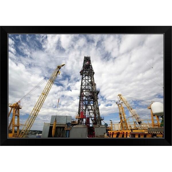 """""""Oil rig drilling derrick"""" Black Framed Print"""
