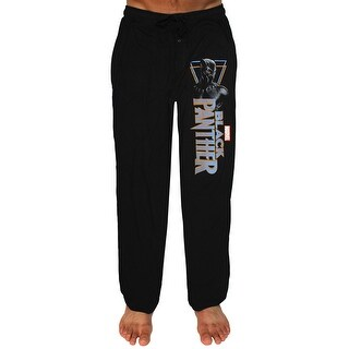 Marvel Black Panther Men's Character And Script Poster Logo Lounge Pants