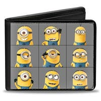 9 Minions Posing Blocks Gray Bi Fold Wallet - One Size Fits most