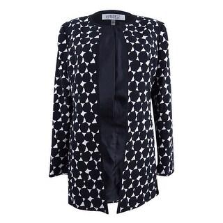 Kasper Women's Petite Dot-Print Topper Jacket (10P, Black/Vanilla Ice) - black/vanilla ice - 10P