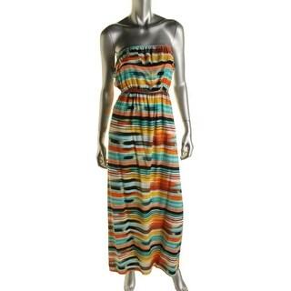 Trixxi Womens Juniors Striped Strapless Maxi Dress - XS